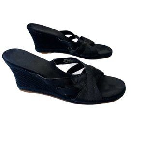 NATURALIZER | Black Espadrille Wedge Sandals Heels